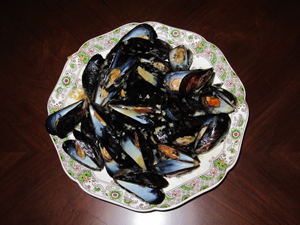 mussels in win sauce